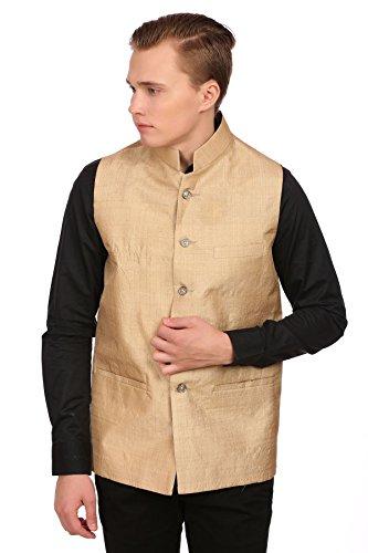 Wintage Men's Gold Muga Silk Grandad Collar Party Nehru Vest Waistcoat,50/ 4XL
