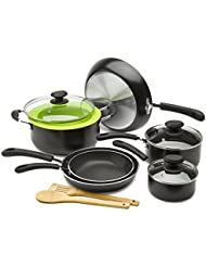 Ecolution Heavy Weight Non-Stick 12-Piece Cookware Set 5 Qt. Dutch Oven with Steam Vented Glass Lid, Silicone...