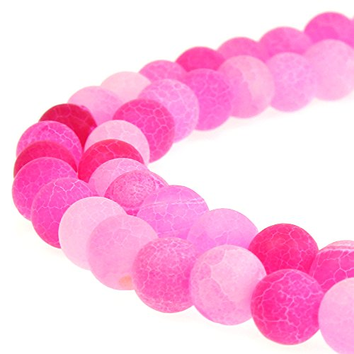 JARTC Nature Frost Cracked Dream Fire Dragon Veins Agate Beads Round Stone Beads for Jewelry Making DIY Bracelets Necklaces 15