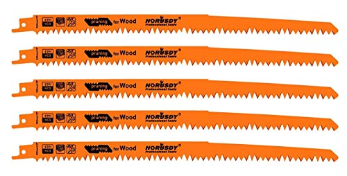 HORUSDY 12-Inch Wood Pruning Reciprocating Saw Blades, 5TPI Sawzall Saw Blades - 5 Pack (NEW Reciprocating Saw Blades)