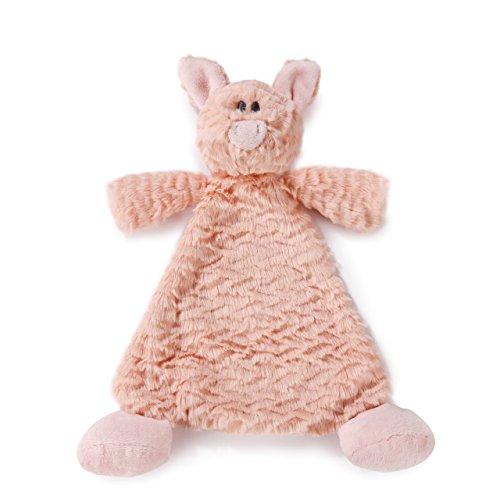DEMDACO Pudder Pig Pink Children's Plush Rattle Blankie ()
