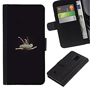 Billetera de Cuero Caso Titular de la tarjeta Carcasa Funda para Samsung Galaxy Note 4 SM-N910 / ballerina dancer vignette beautiful / STRONG