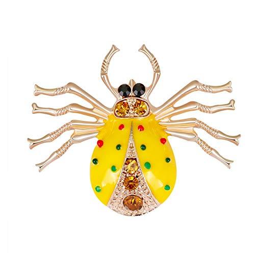 Academyus Vintage Enamel Beetle Rhinestone Brooch Pin Party Collar Scarf Jewelry Ornament - Yellow