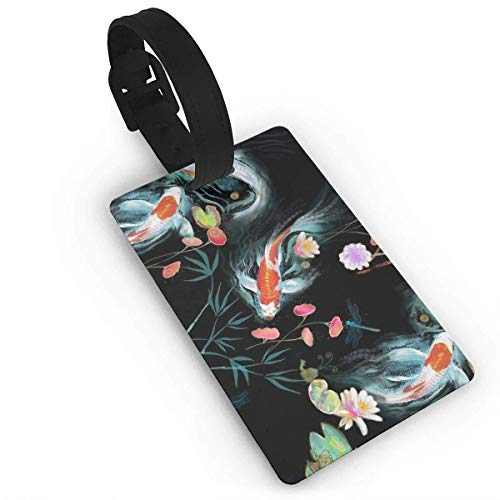Koi Japanese Water Garden PVC Luggage Tags Travel Suitcase Labels Business Card Holder (Japanese Business Card)
