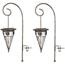 Luma Light Wh097 Tapered Solar Lights with Fence Hook Attachment, Set of 2