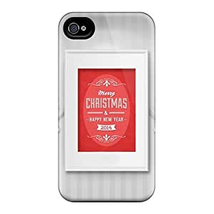 Iphone 4/4s Merry Christmas Happy New Year 2012 Print High Quality Tpu Gel Frame Case Cover