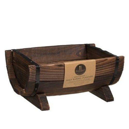 Burntwood Half Barrel Planter/Handmade wood Trough planter/Wood Bespoke Plant Pot By Emeia mjaonline
