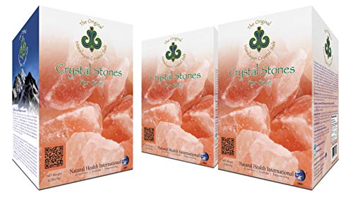 Original Himalayan Crystal Salt Stones for Sole - 6.6lb (3 Pack, 3kg) Increase Hydration, Energy, Vibration, Cellular Communication and Replenish Electrolytes with 84 Trace Minerals