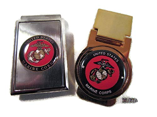 2 USMC US MARINE CORPS LOGO MONEY CLIPS STAINLESS STEEL and GOLD PLATED