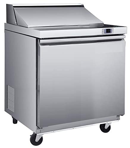 Chef's Exclusive CE345 One 1 Solid Door Commercial Heavy Duty Stainless Steel Sandwich and Salad Station Prep Table Cooler Refrigerator 7.5 Cubic Foot Storage with (8) 1/6 Size Pans, 29
