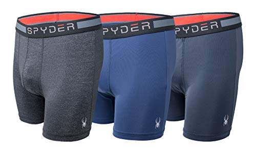 Spyder Men's Performance Boxer Briefs Sports Underwear 3 Pack (Medium, Navy/Grey) ()