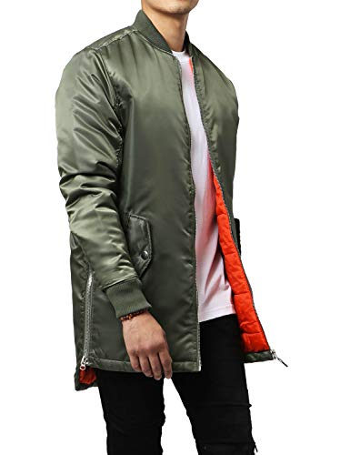 Hat and Beyond Mens Longline Bomber Jacket Hip Hop Quilted Urban Zip Up(Military Green, Medium)