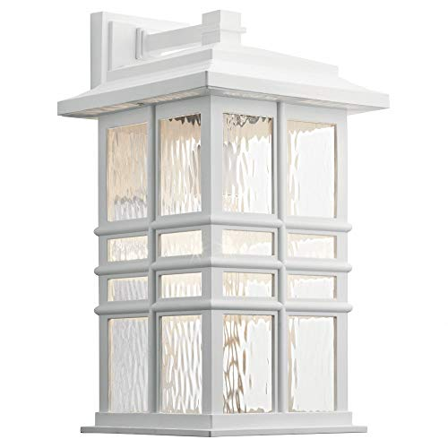 Lantern Wall Large Beacon Outdoor (Kichler Lighting 49831WH Beacon Square - One Light Outdoor Large Wall Lantern, White Finish with Clear Hammered Glass)