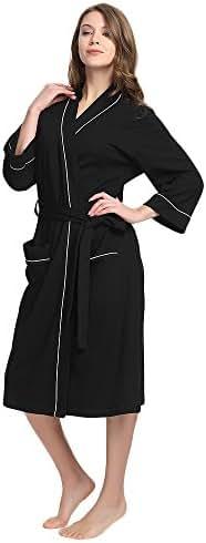 M&M Mymoon Womens Cotton Robe Soft Kimono Spa Knit Bathrobe Lightweight Long …