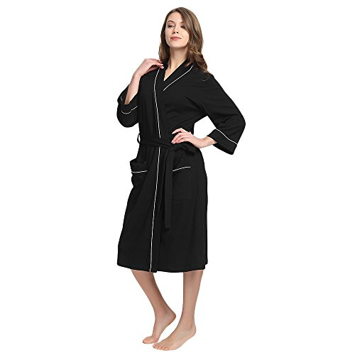 M&M Mymoon Womens Cotton Robe Soft Breathable Kimono Robes Knit Bathrobe Loungewear Short Sleepwear Black