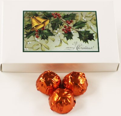 Scott's Cakes Milk Chocolate Apricot Italian Butter Cream Candies with Orange Foils in a 1 Pound Mistletoe Box