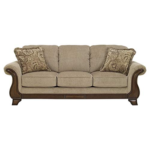 Ashley Furniture Signature Design – Lanett Sleeper Sofa – Queen – 3 Seat Traditional Couch with Sofa Bed Inside – Barley