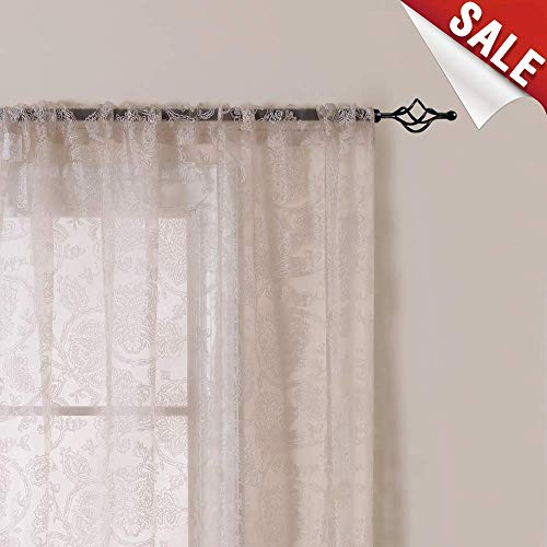jinchan Sheer Curtain for Living Room Taupe 84