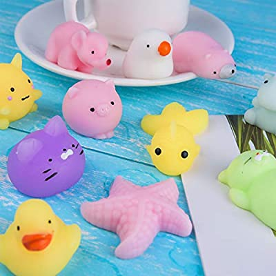 KUUQA 40 Pcs Mochi Squishies Kawaii Animal Squishy Unicorn Dinosaur Tortoise Mini Soft Squeeze Stress Reliever Toys for Kids Birthday Party Favors Goodie Bag Easter Egg Fillers: Toys & Games