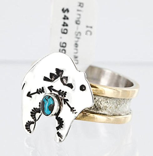 - .925 Sterling Silver and 12kt Gold Filled Handmade BEAR Certified Authentic Navajo Turquoise RING