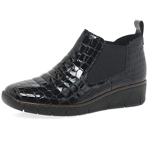Heel Panel Croc Granite Boots Ankle Women's 53794 Patent With Rieker Black wYRHW