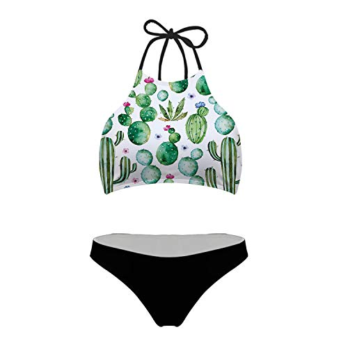 - chaqlin Womens Tie Halter Padding Bikini Two Piece Swimsuit Tank Padding Bikini Set Bathing Cactus Design L