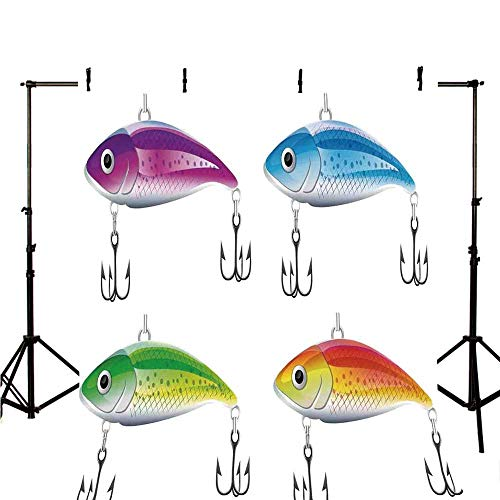 (Fishing Decor Stylish Backdrop,Collection of Fishing Lures in Trout Shape Trap for Sea Mammals Creatures Picture for Photography,59