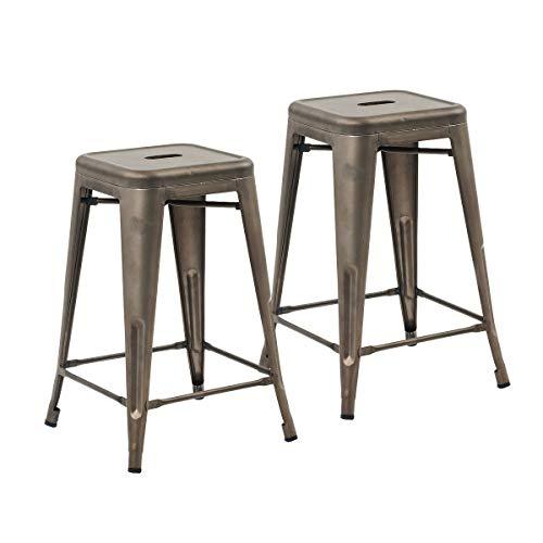 Buschman Set of 2 Bronze 24 Inch Counter Height Metal Bar Stools, Indoor/Outdoor, Stackable (Stool Bronze Bar)