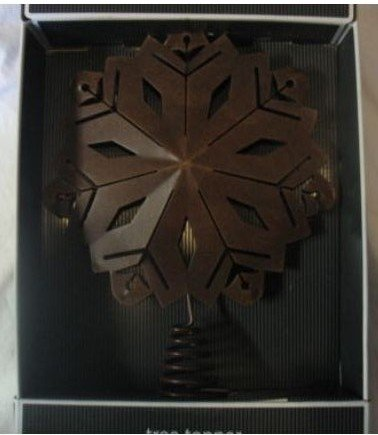 12 Inch Distressed Punched Metal Snowflake Star Christmas Holiday Tree Topper