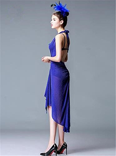 la danza Baile la Backless de la de del funcionamiento f de etapa mujer demostración latino vestido vestido blue qv7wrxqSz