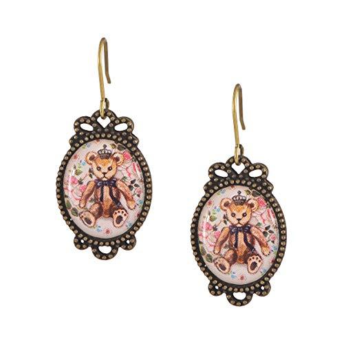 Teddy Bear Enamel Earrings - chelseachicNYC Whimsical Antique Charm Dangle Earrings Teddy Bear