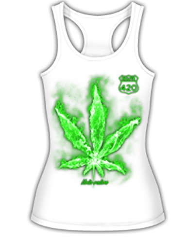 Route 420 Marijuana Weed Ganja Pot Leaf Mota-vation Tank Top Shirt(Sz SM- XL) (Large, White)