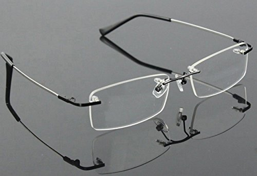 d06112efa9e Amazon.com  Agstum Titanium Alloy Flexible Rimless Frame Prescription  Eyeglasses (Black)  Clothing