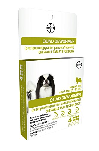 Bayer 22.7mg Puppies and Small Dog 2-25 lb 4 count Quad Chewable Dewormer
