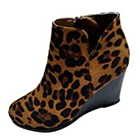 Kitten/Wedges Ankle Boots for Women 2019 Winter Leopard Print Mid Heel Short Booties Casual Party Shoes - Limsea