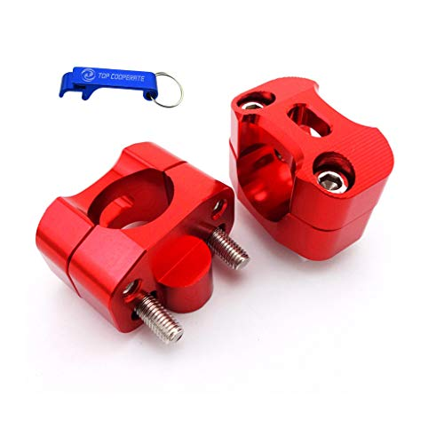 TC-Motor Red Aluminum Handle Bar Risers Taper Mount Clamp For 1 1/8