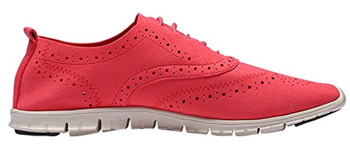 U-lite Women's Lace-up Wingtip Eyelet-Lacing Suede Oxfords Brogue Perforated Oxford Shoes Watermelon Red (Suede Eyelet)