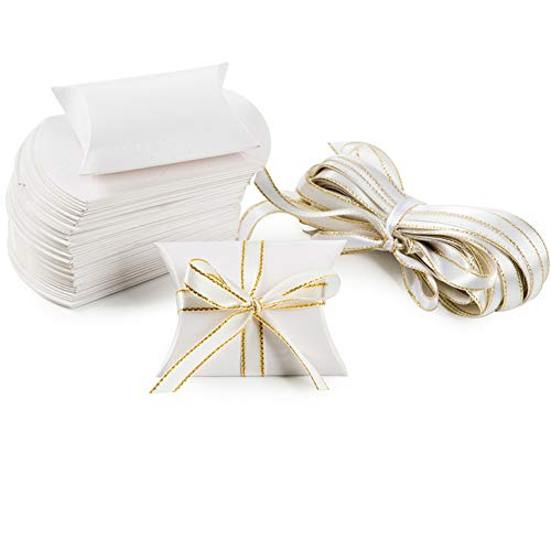 White Pillow Paper Box Candy Treat Gift Boxes Set with Gold Ribbon for Wedding Favors Baby Shower Graduation Party Decorations, 50 PC