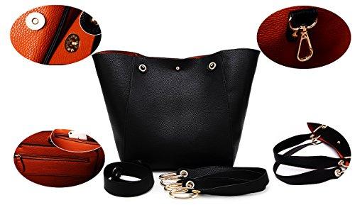 Sac main courses Femme Sacs cuir à Mesdames Noir Gris d'épaule SQLP Sac de noir Designer Cabas SUqwOx8I