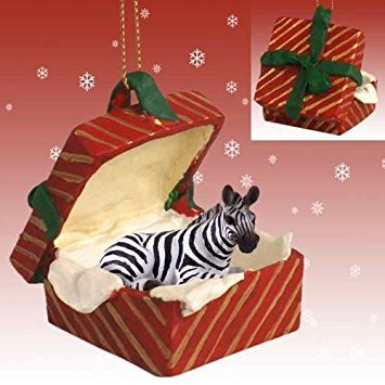 Conversation Concepts Zebra Red Gift Box Christmas Ornament