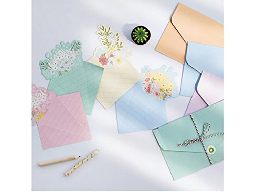 IFYOU 16 Cute Fresh Flower Series Design Writing Stationery Paper Letter Set with 8 Envelope + 1 Sheet Label Seal Sticker,To Friends And Family
