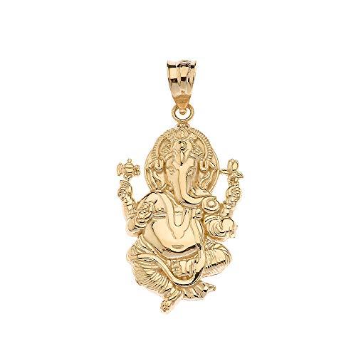 CaliRoseJewelry 14k Hindu Lord Ganesh Ganesha Elephant Hindu God of Fortune Charm Pendant in Yellow Gold