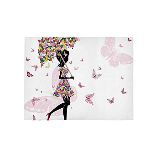 Girls Utility Area Rug,Girl with Floral Umbrella and Dress Walking with Butterflies Inspirational Art Print for Home,84