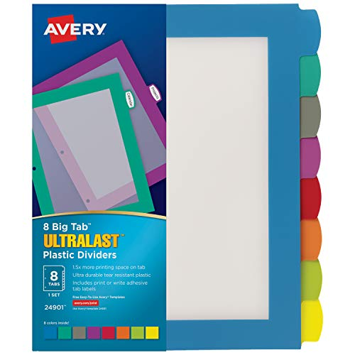 Avery 8-Tab Ultralast Plastic Binder Dividers, Multicolor Big Tabs, 1 Set (24901)