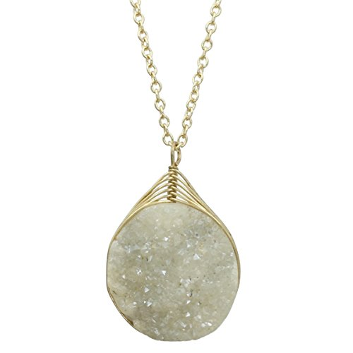 Gypsy Jewels Natural Stone Druzy Drusy Quartz Simple Small Dainty Boutique Chain Necklace - Assorted Colors (Ivory Cream Gold Tone)