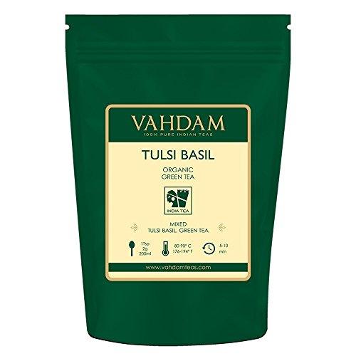 VAHDAM, Tulsi Basil Green Tea Loose Leaf (50 Cups) | Holy Basil Tea | Blend Of Pure Green Tea Leaves & Fresh Basil Leaves | Tulsi Tea | POWERFUL ANTI-OXIDANTS | Brew as Hot Tea or Iced Tea | 3.53oz
