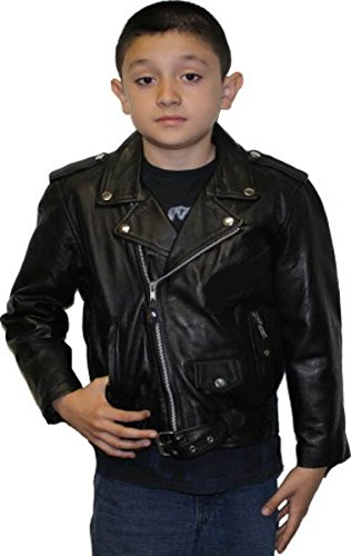 Unisex kids Genuine soft Leather Jacket Outerwear Biker Jacket_XXL_Chest 34
