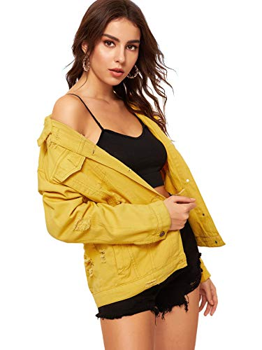 - Floerns Women's Ripped Distressed Casual Long Sleeve Denim Jacket Yellow L