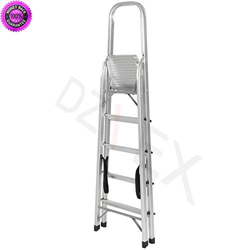 DzVeX_300lbs Aluminum Foldable 5 Step Non-slip Ladder Lightweight Kitchen Garage And metalworking tooling metalworking machinery trader metal working machine auctions industrial metal working tools