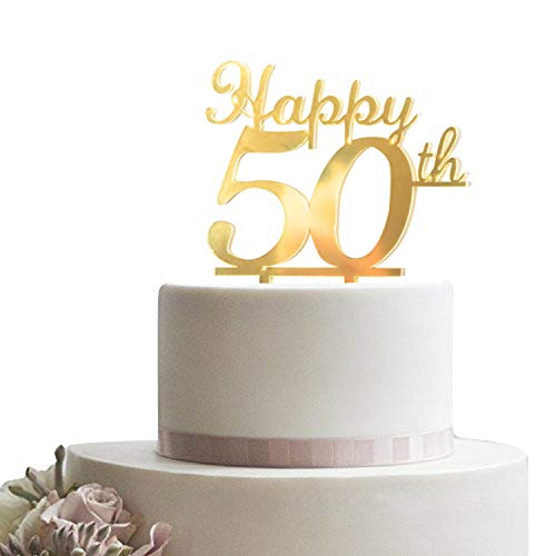 (Happy 50th Cake Topper for Birthday, Anniversary Wedding - 50 Years Old Decoration)